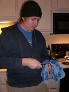 Tim shucking the oysters with his new knife.