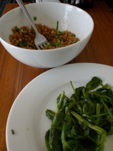 Sesame Wheat Berries and Pea Greens